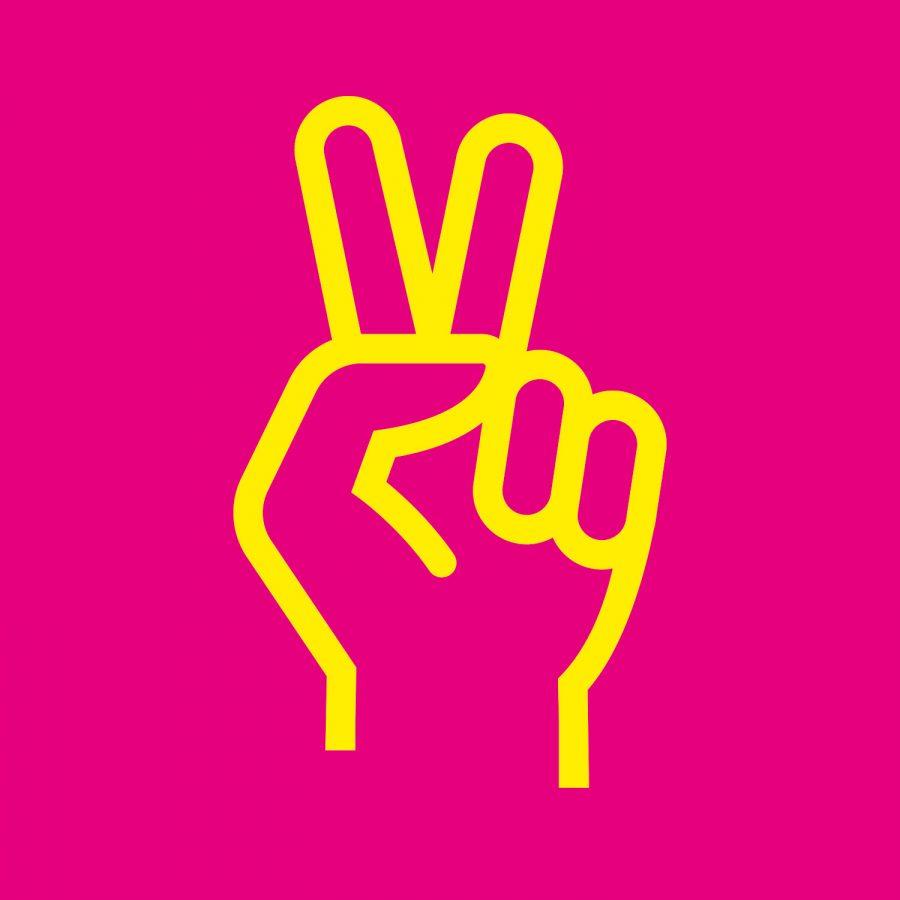 Illustration på en hand som håller upp två fingrar